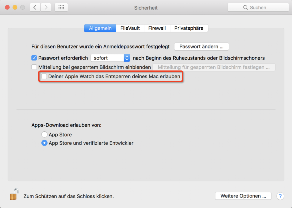 MacOS - Systemeinstellungen - Sicherheit