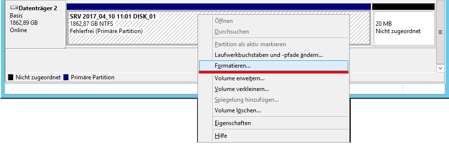 Windows Server Datenträgerverwaltung zum formatieren von Windows Server Sicherungs- Festplatten