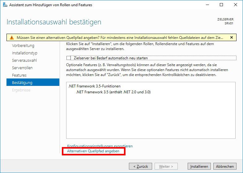 Windows Server .Net Framework Alternativer Quellpfad