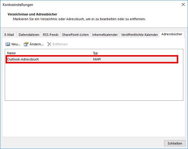Microsoft Outlook Adressbuch Reihenfolge Nachnamen - Vornamen einstellen