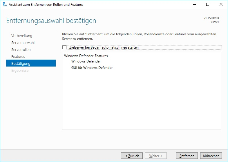 Windows Defender deinstallieren - Features entfernen