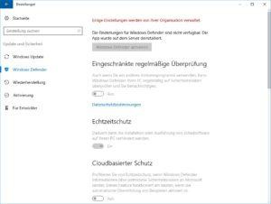 Windows Defender deinstallieren - Einstellungen prüfen