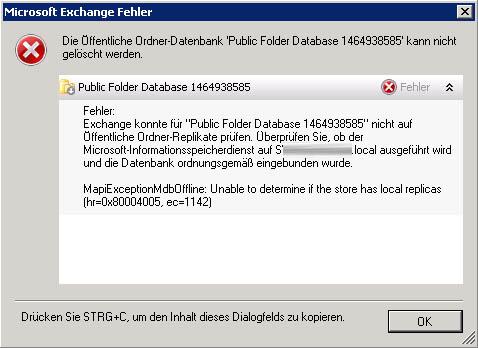 Exchange Server Public Folder Database Fehler