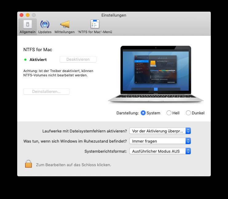 Paragon NTFS Treiber Einstellungen