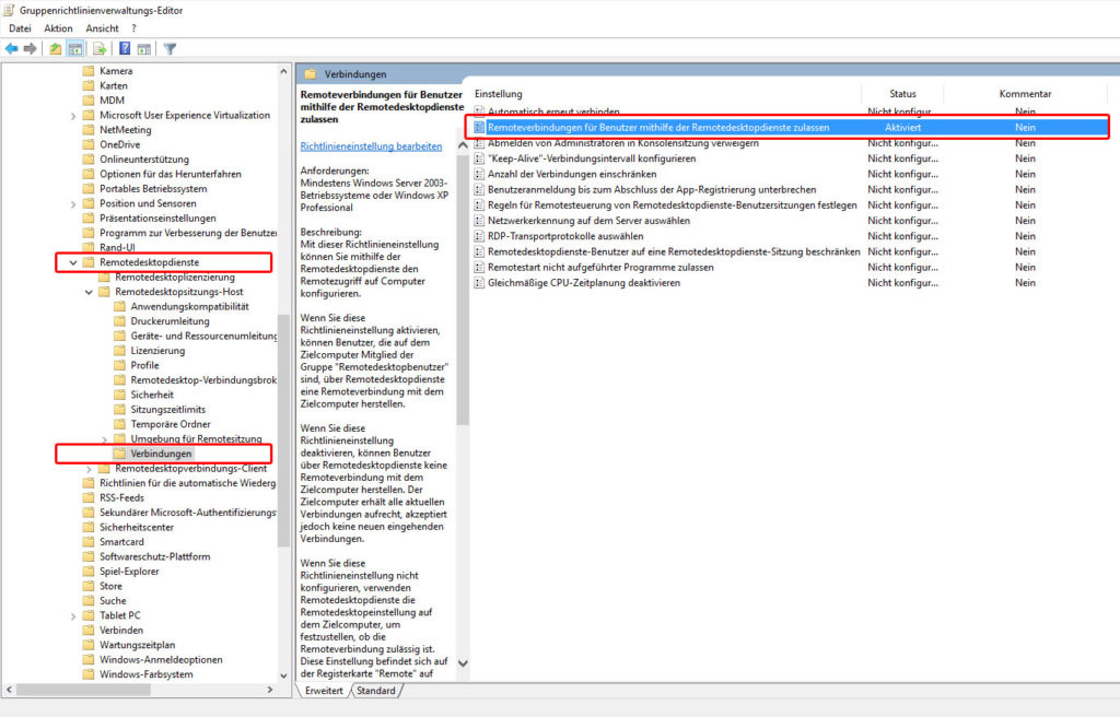 Remote Desktop Verbindungen per Gruppenrichtlinie aktivieren