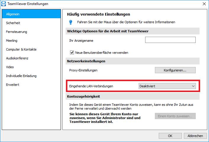 TeamViewer LAN only