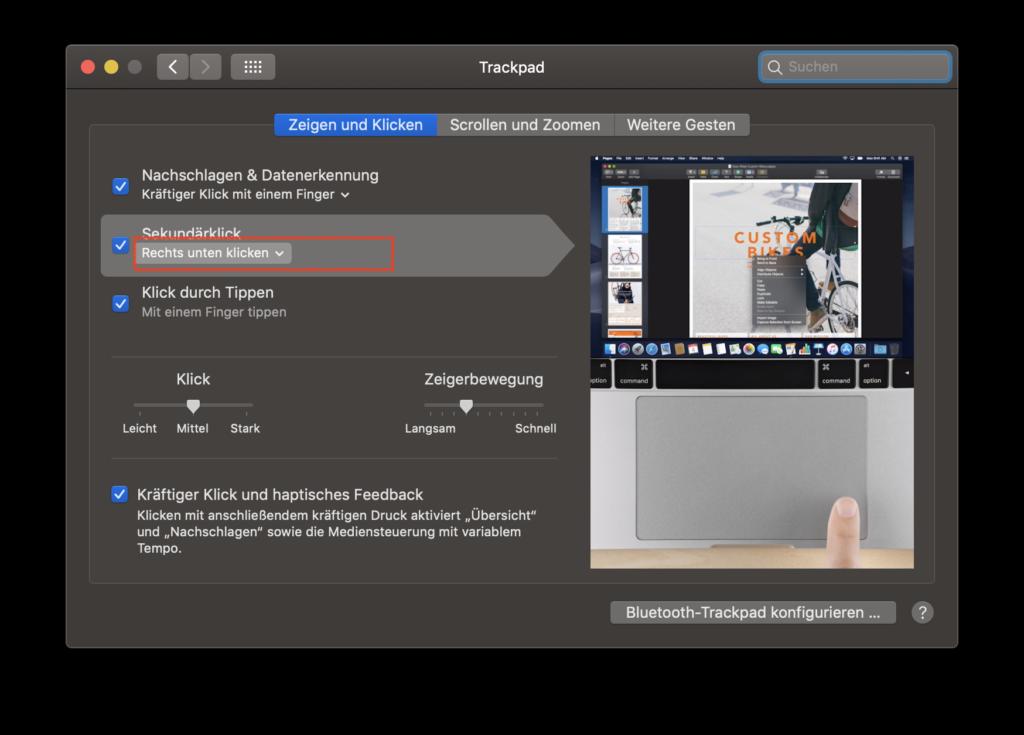 MacOS Trackpad Einstellungen