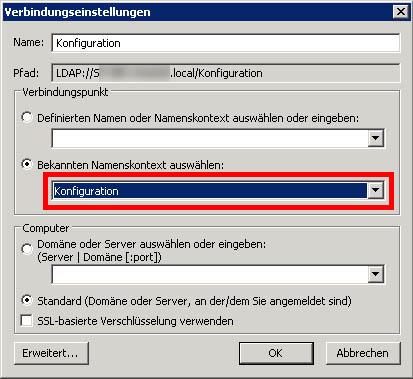Exchange Server Public Folder Database Verbindungseinstellungen