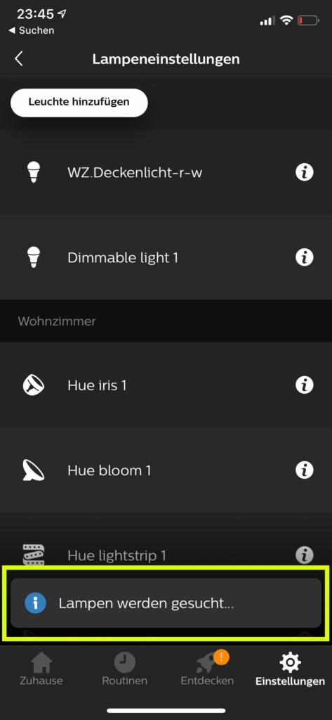Hue App Lampen suchen
