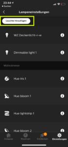 Hue App Leuchte hinzufügen