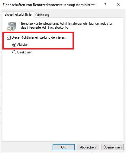 Benutzerkontensteuerung: Administratorgenehmigungsmodus für das integrierte Administratorkonto