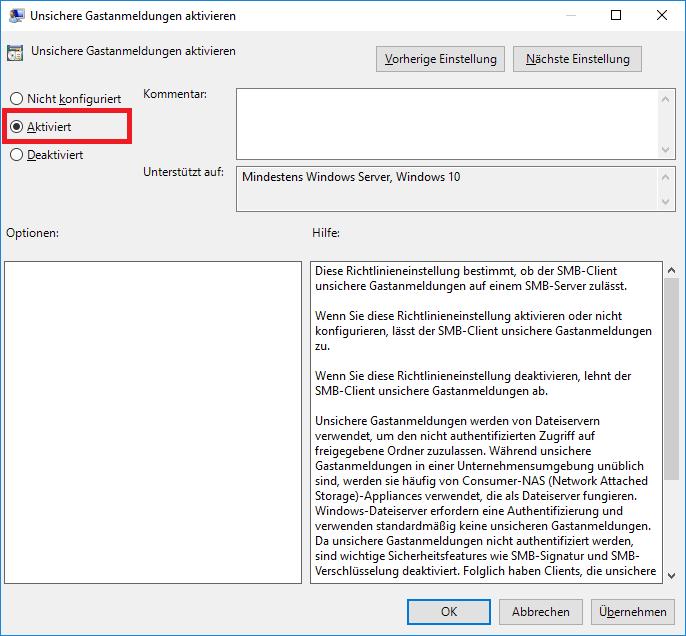 Netzwerkfehler - Unbekannter Fehler - Fehlercode: 0x80004005