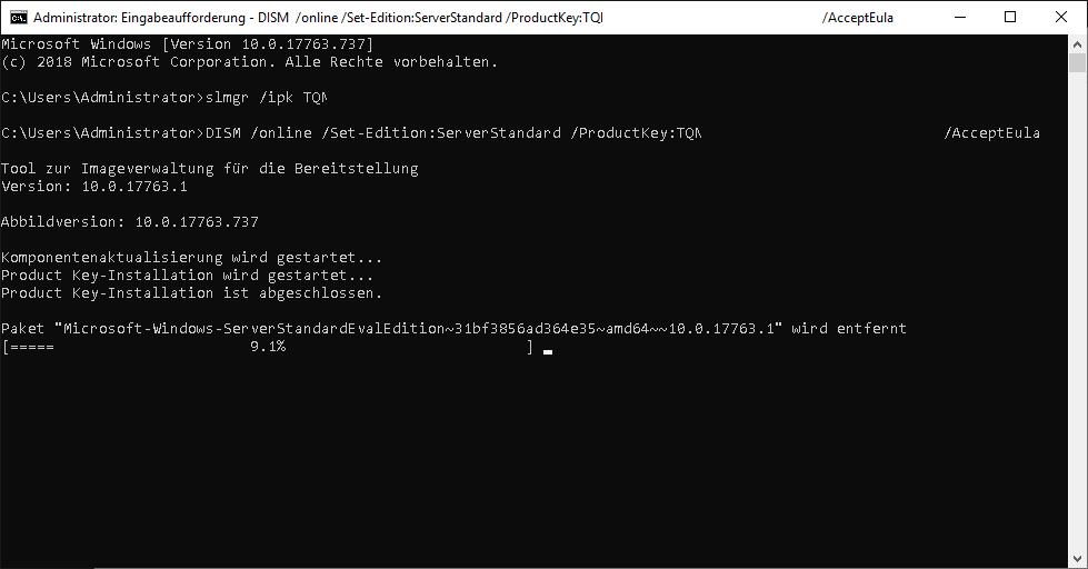 HowTo: Windows Server Testversion in Vollversion umwanden.