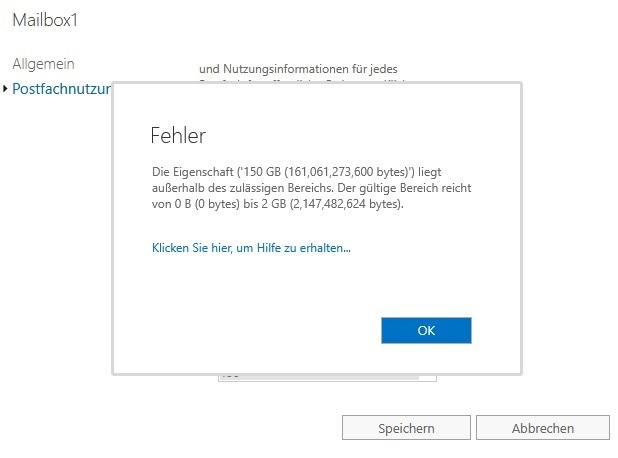Exchange Public Folder Mailbox Größe ändern