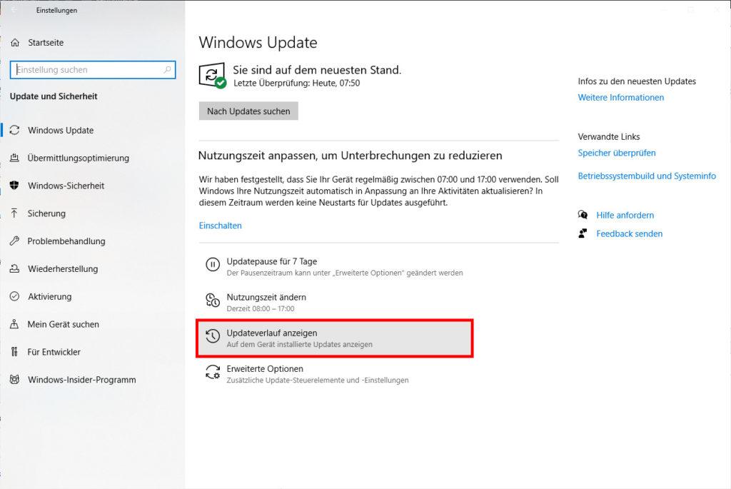 Windows Update Verlauf - Bluescreen beim Drucken