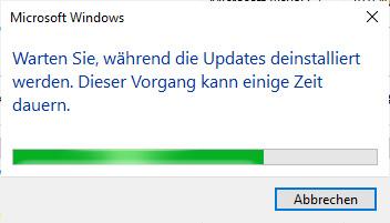 Windows Update Deinstallation