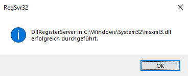 DllRegisterServer in C:\Windows\System32\msxml3.dll erfolgreich durchgeführt.